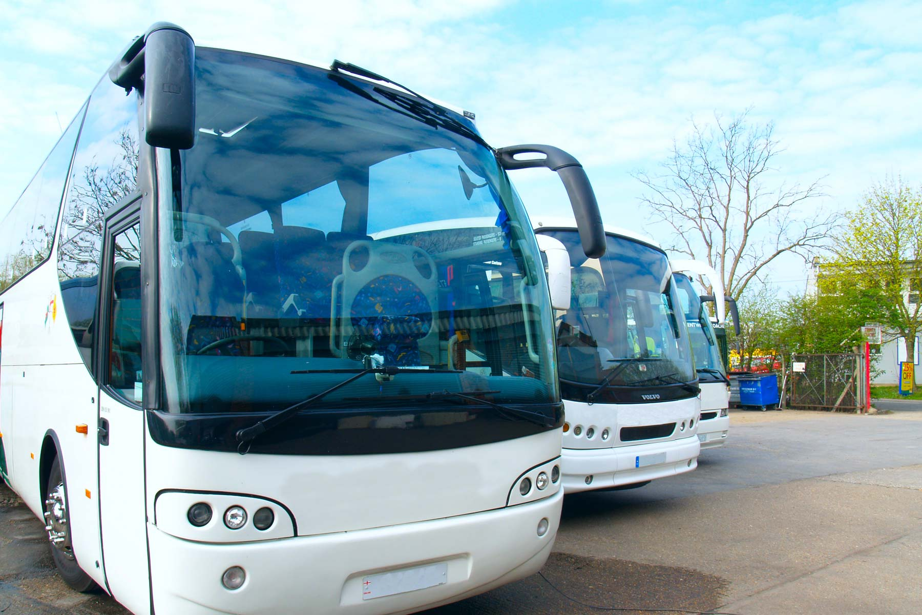 Coaches parked