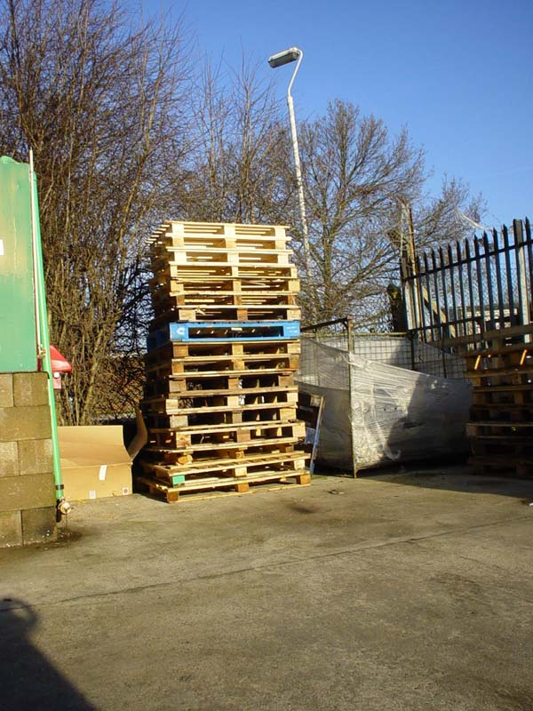 Stack of pallets in a goods yard